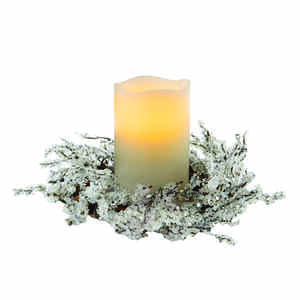 Apothecary  Centerpiece with Candle Holders  White  Warm White  1 pk PVC Flocked Pine