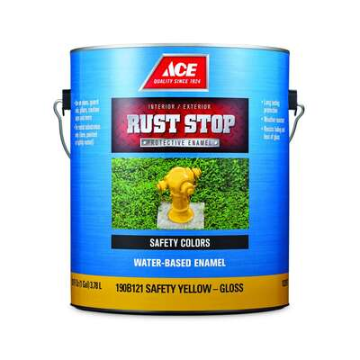 Ace  Rust Stop  Indoor / Outdoor  Gloss  Safety Yellow  Water-Based Enamel  Rust Preventative Paint