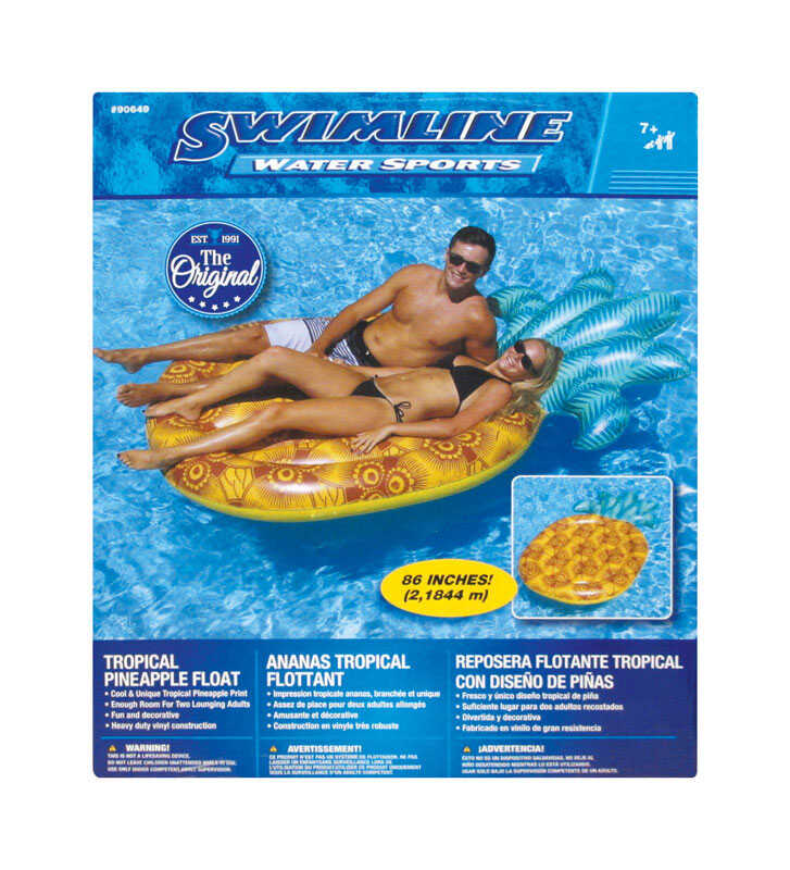 Swimline  Yellow  Yellow  Inflatable Pineapple  Pool Float  Vinyl