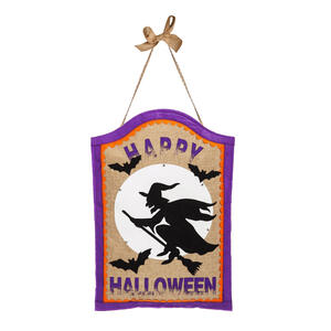 Evergreen  Happy Halloween Witch on Broom  Halloween Decoration  19 in. H x 13 in. W 1 pk