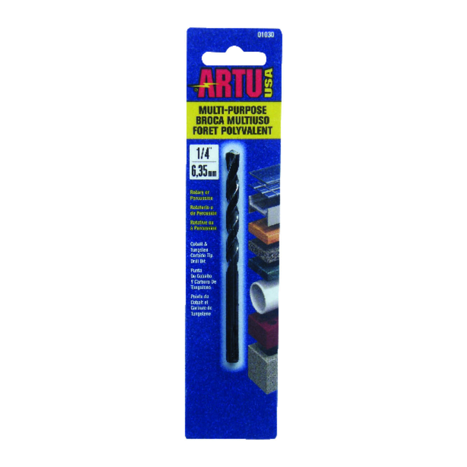 ARTU  1/4 in. Dia. x 4-1/8 in. L Tungsten Carbide Tipped  General Purpose Drill Bit  Round Shank  1