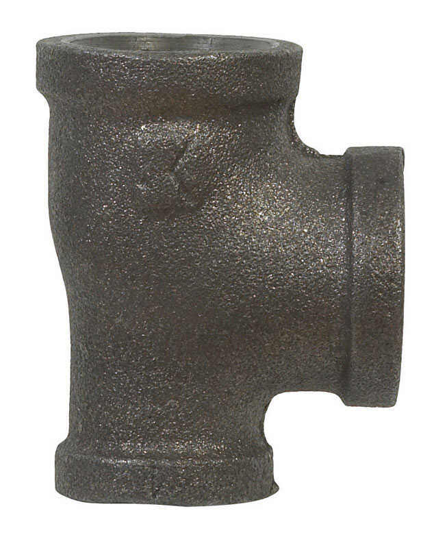 B & K  3/4 in. FPT   x 1/2 in. Dia. FPT  Black  Malleable Iron  Reducing Tee