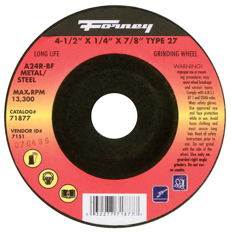 Forney  4-1/2 in. Dia. x 1/4 in. thick  x 7/8 in.   Aluminum Oxide  Metal Grinding Wheel  13300 rpm