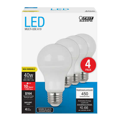 Feit Electric A19 E26 (Medium) LED Bulb Daylight 40 Watt Equivalence 4 pk