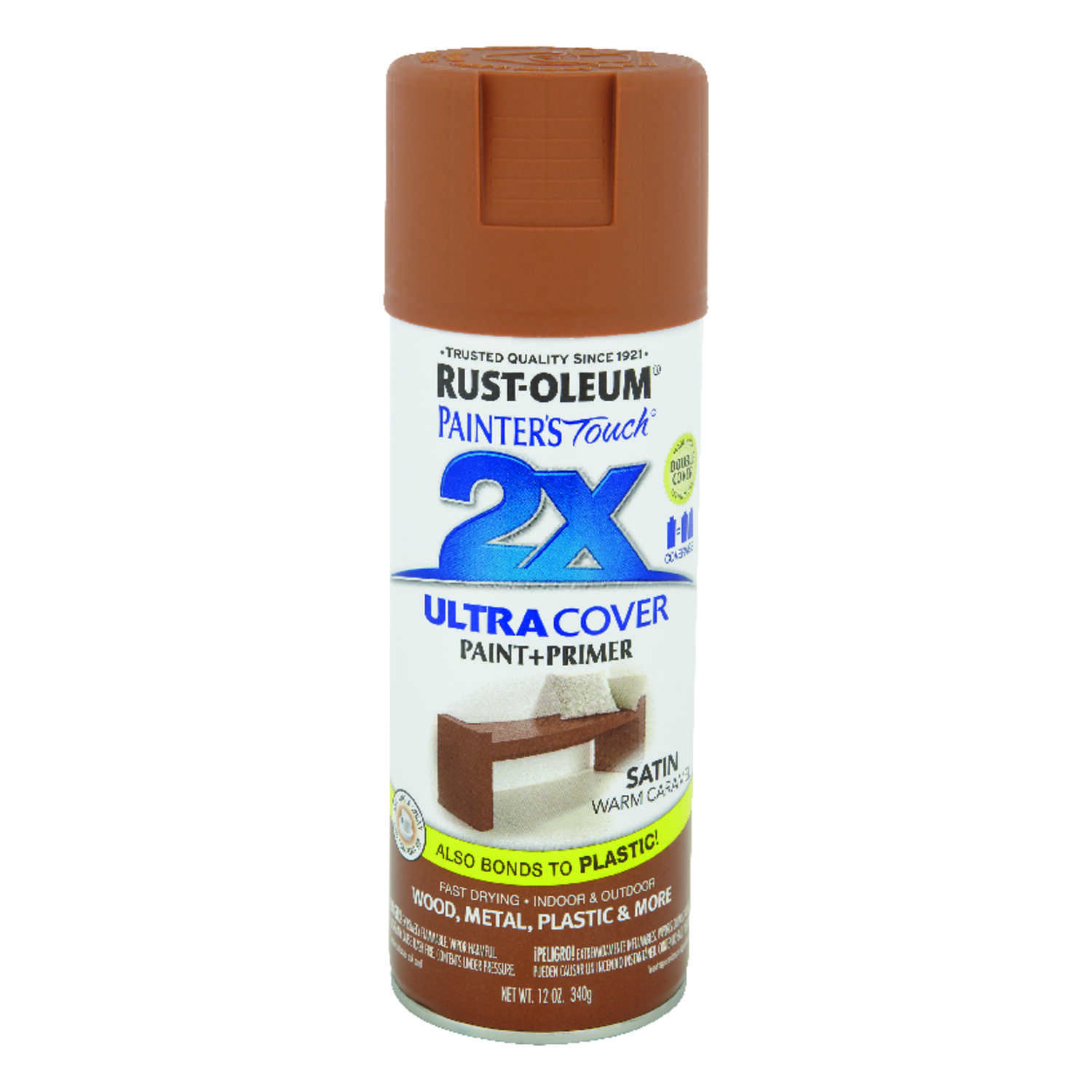 Rust-Oleum  Painter's Touch Ultra Cover  Satin  Warm Caramel  Spray Paint  12 oz.
