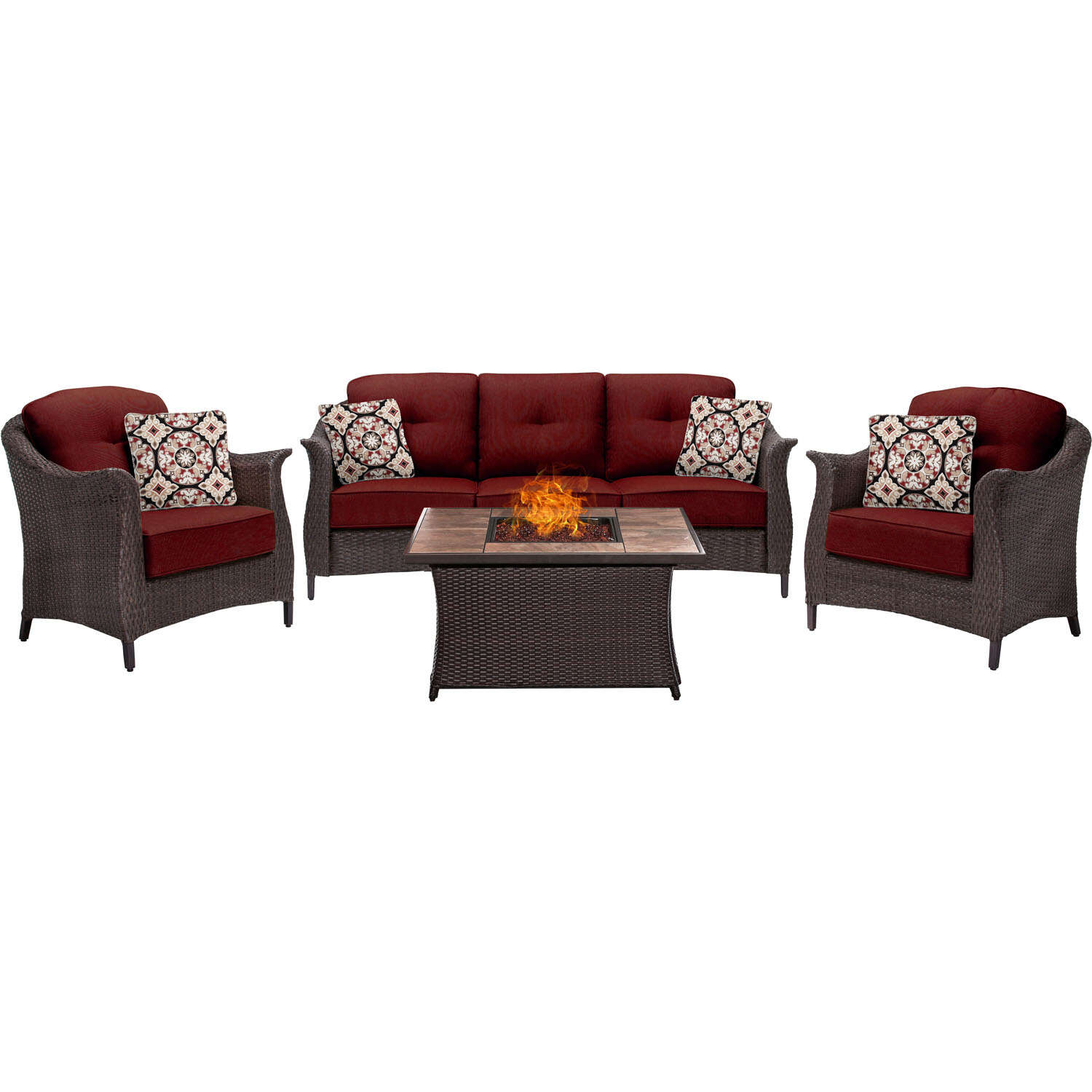Hanover  Gramercy  4 pc. Java  Steel  Firepit Set  Red