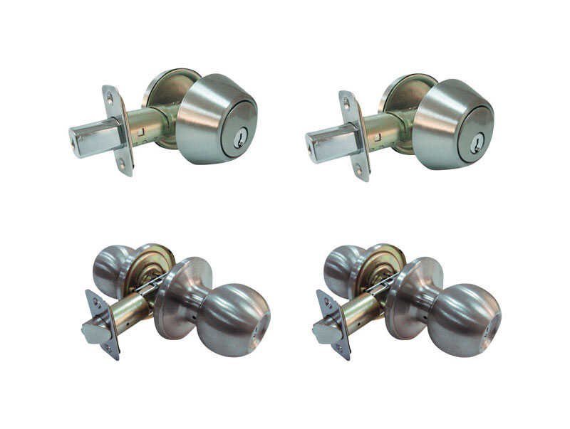 Faultless  Ball  Satin Stainless Steel  Metal  Entry Knob and Single Cylinder Deadbolt  3 Grade Righ