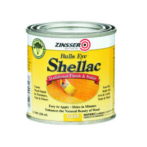 Zinsser  Bulls Eye  Clear  Shellac  Finish and Sealer  0.5 pt.