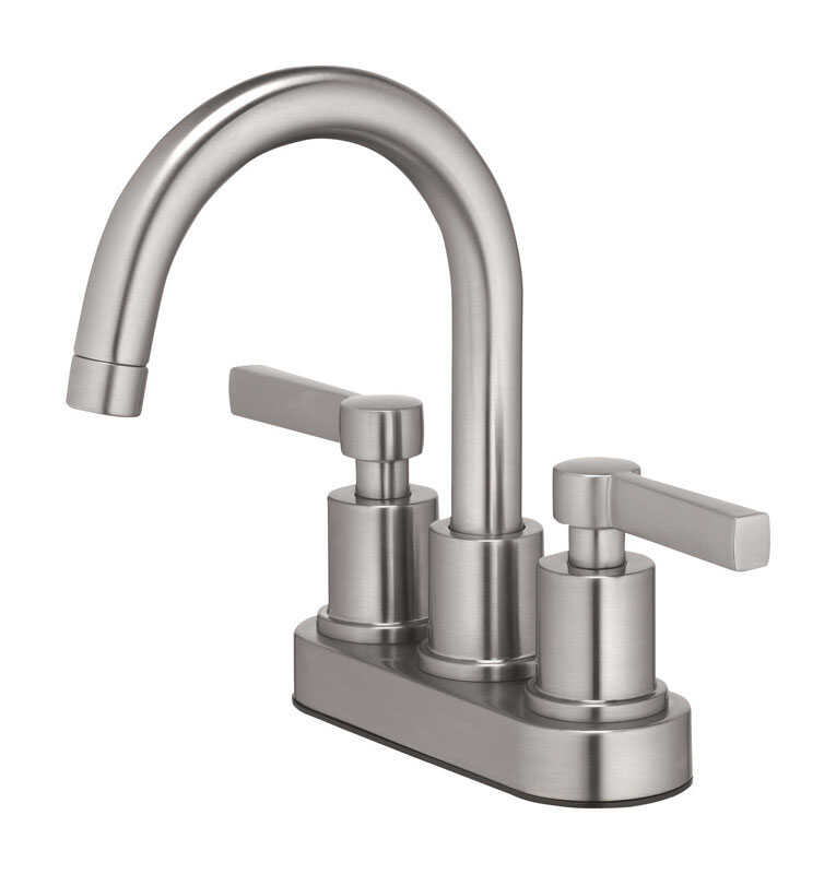 OakBrook  Verona  Two Handle  Lavatory Pop-Up Faucet  4 in. Brushed Nickel