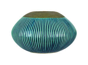 Trendspot  Outdoozie  Ceramic  Blue  5.74 in. Ribbed  Firepot