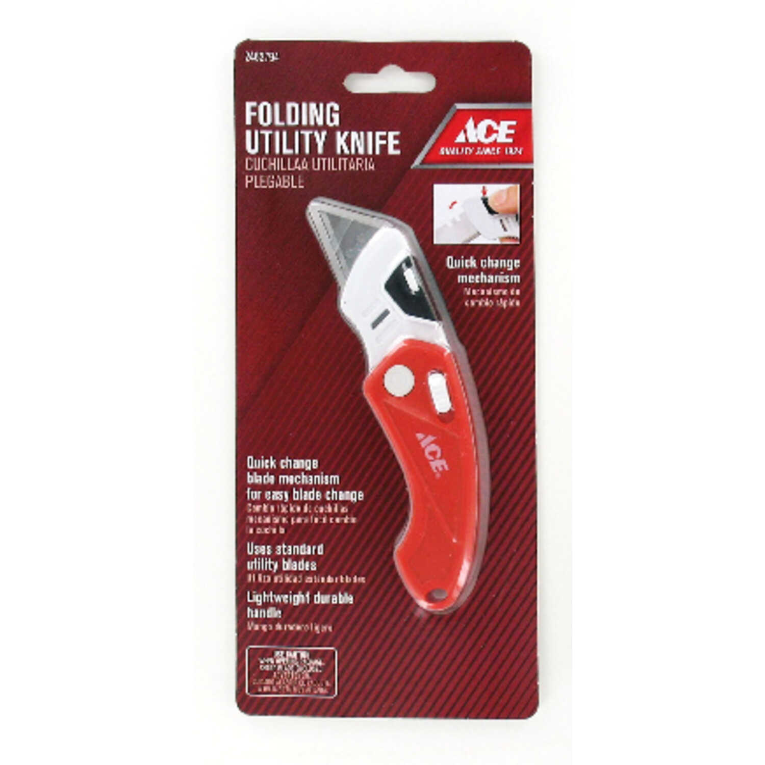 Ace  Folding  0.4 in. Utility Knife  Red