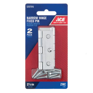 Ace  1-5/8 in. L Zinc-Plated  Narrow Hinge  2 pk