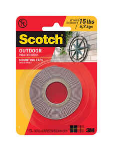 Scotch  1 in. W x 60 in. L Mounting Tape  Gray