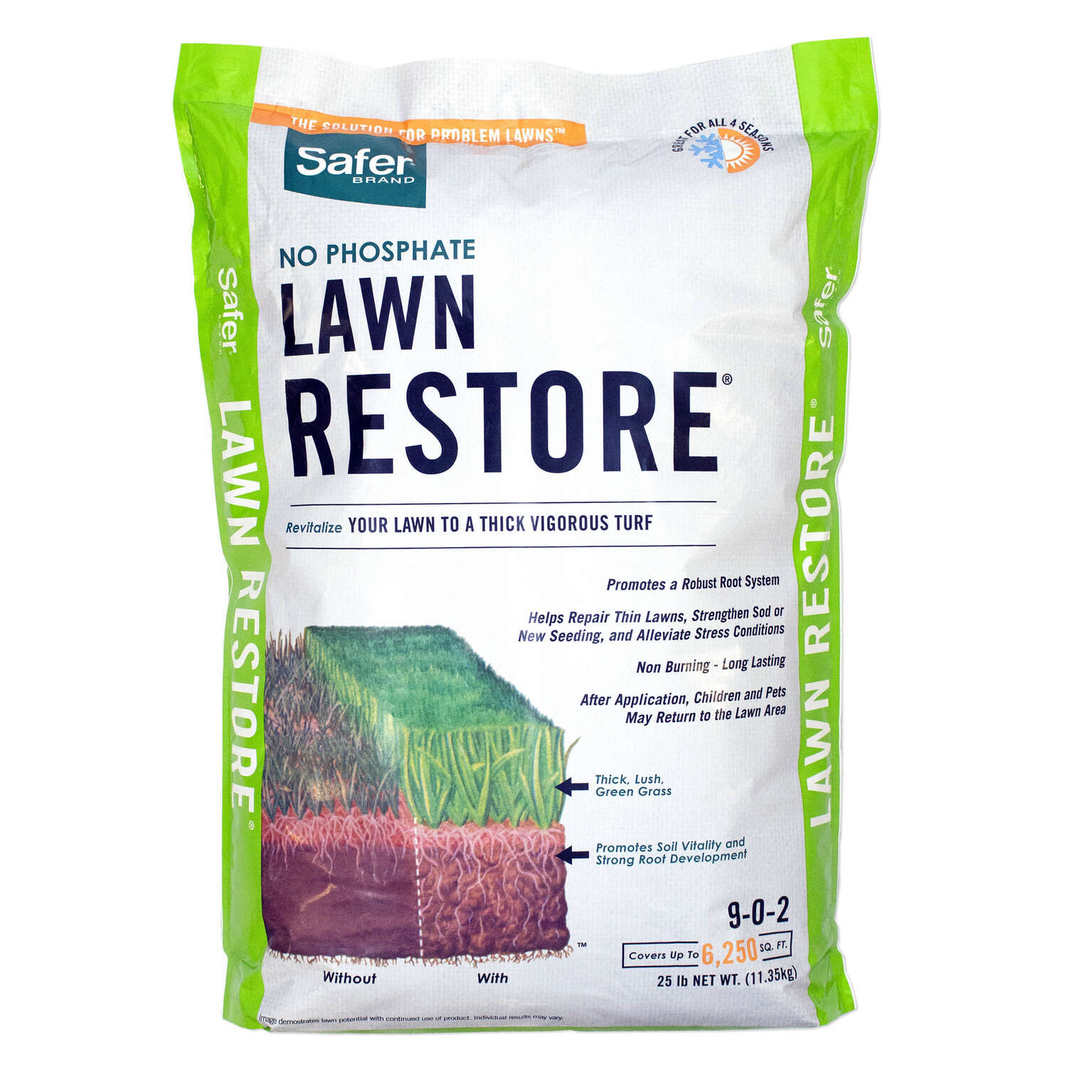 Safer Brand Lawn Restore All-Purpose 9-0-2 Lawn Fertilizer 6250 sq. ft. For All Grasses