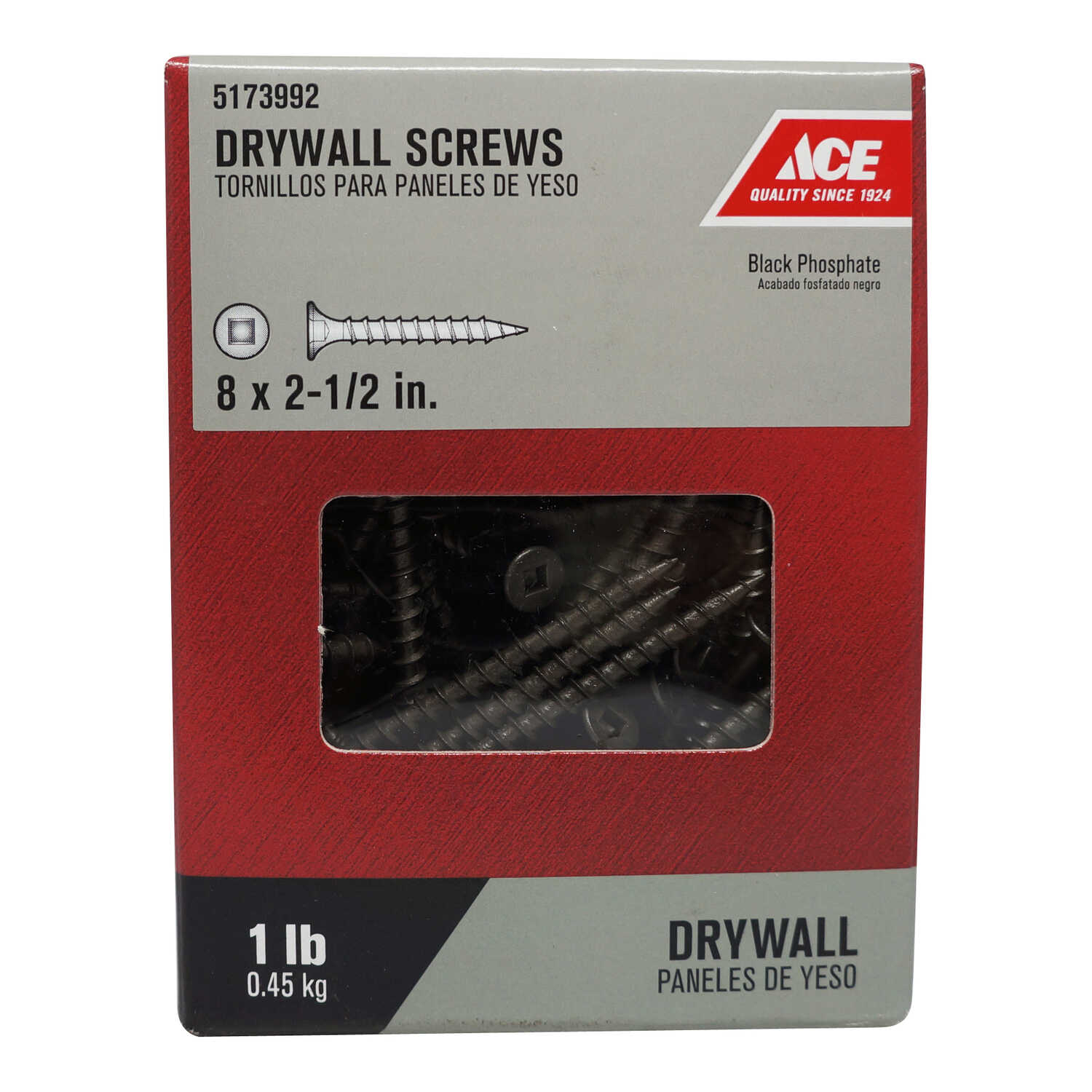 Ace  No. 8   x 2-1/2 in. L Square  Bugle Head Black Phosphate  Steel  Drywall Screws  1 lb. 112 pk
