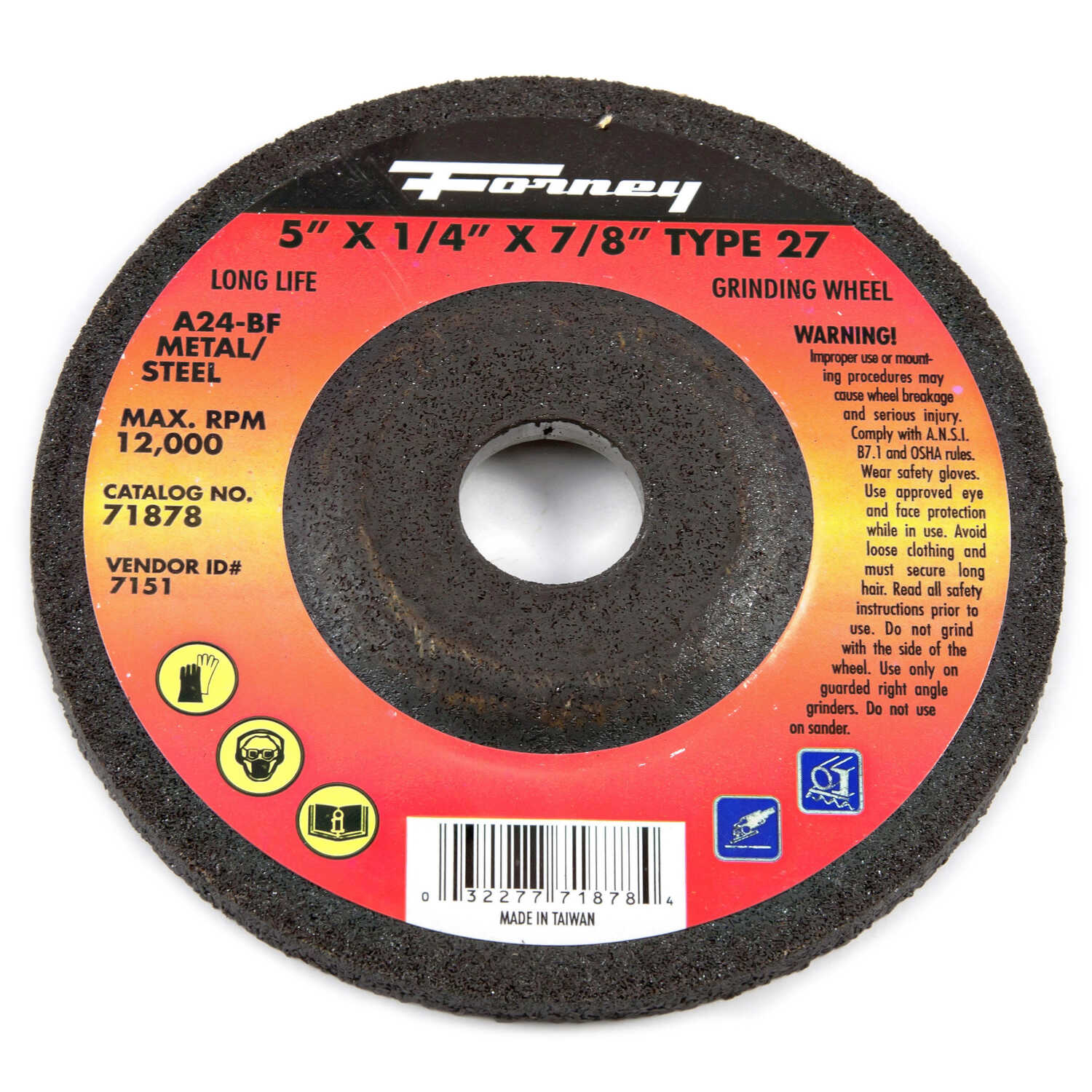 Forney  5 in. Dia. x 1/4 in. thick  x 7/8 in.  Aluminum Oxide  Metal Grinding Wheel  12000 rpm 1 pc.