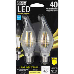 FEIT Electric  4.5 watts C10  LED Bulb  300 lumens Chandelier  40 Watt Equivalence Soft White