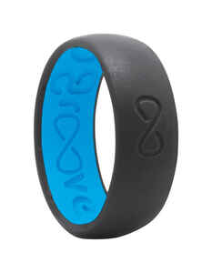 Groove Life  Unisex  Round  Deep Stone Gray/Blue  Wedding Band  Silicone  Water Resistant