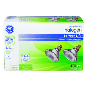 GE Lighting  60 watts PAR38  Halogen Bulb  1070 lumens 2 pk Floodlight  White
