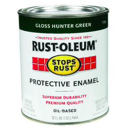 Rust-Oleum  Stops Rust  Indoor and Outdoor  Gloss  Hunter Green  Oil-Based  Protective Paint  1 qt.