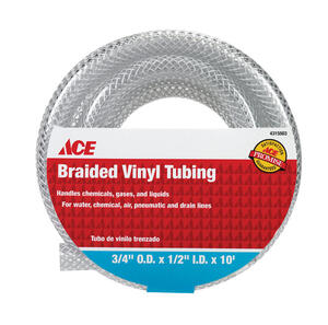 Ace  ProLine  1/2 in. Dia. x 3/4 in. Dia. PVC  Braided Vinyl Tubing