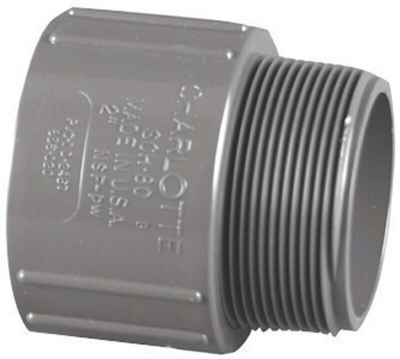 Charlotte Pipe  1-1/2 in. Slip   x 1-1/2 in. Dia. MPT  PVC  Adapter