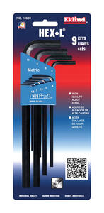 Eklind Tool  Hex-L  1.5-10mm  Metric  Long Arm  Hex L-Key Set  Multi-Size in. 9 pc.