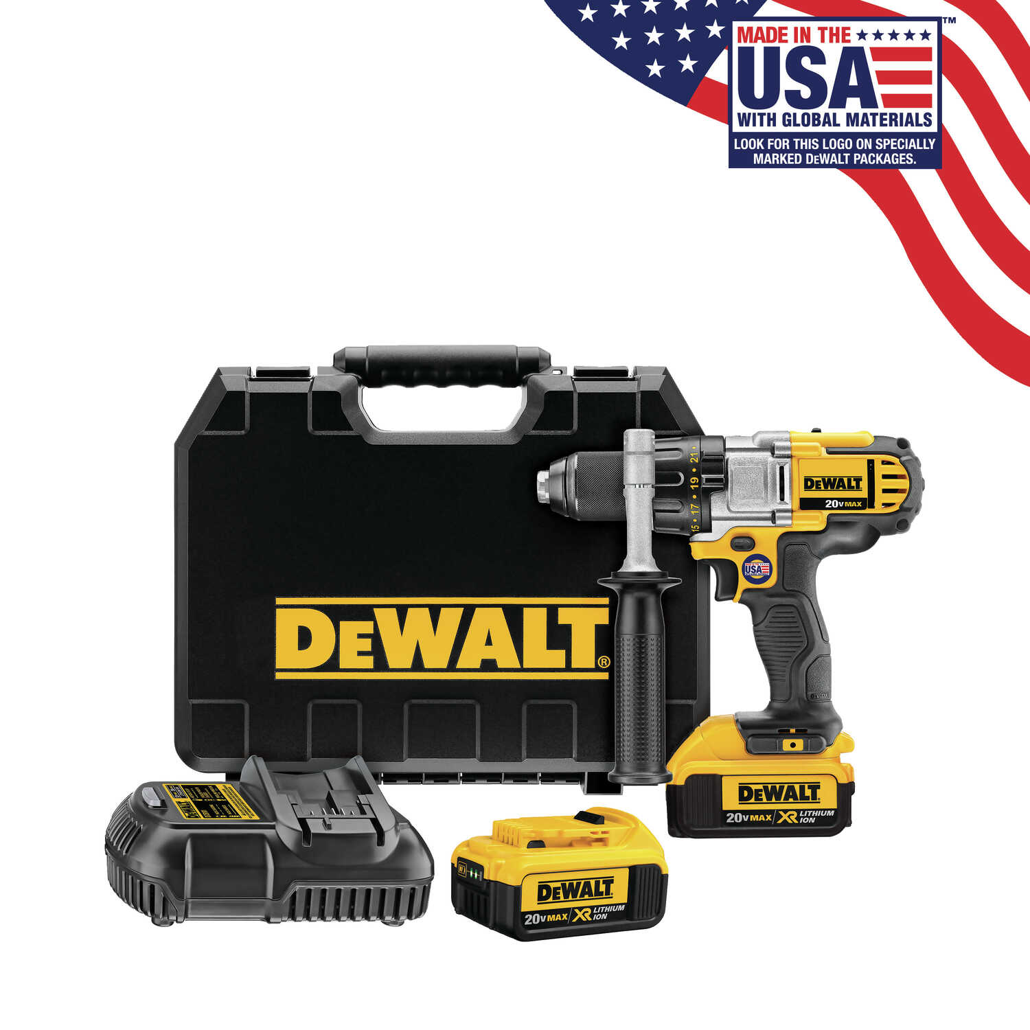 DeWalt  XR Premium  20 volt Brushed  Cordless Drill/Driver  Kit  1/2 in. Metal Ratcheting  2000 rpm
