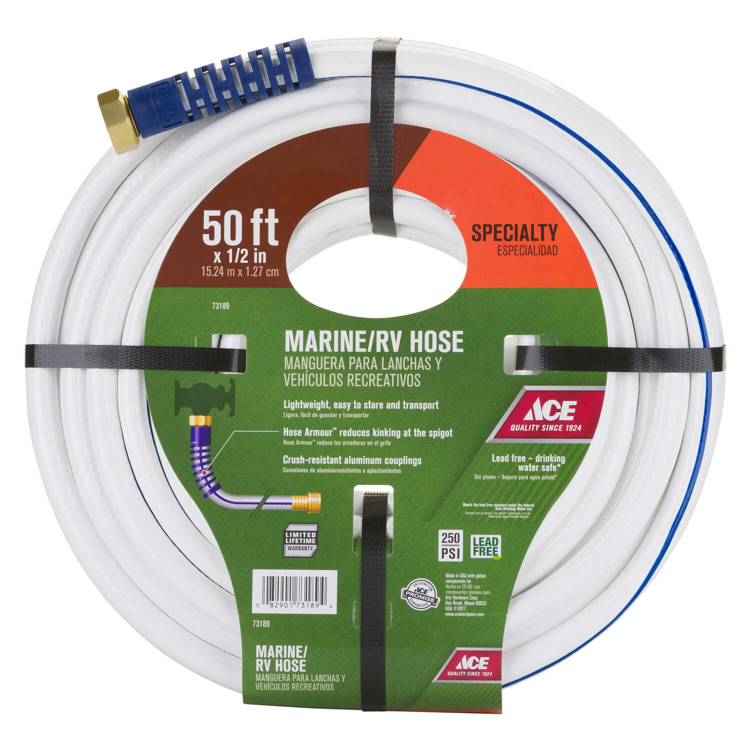 Ace  1/2 in. Dia. RV/Marine  White  Hose