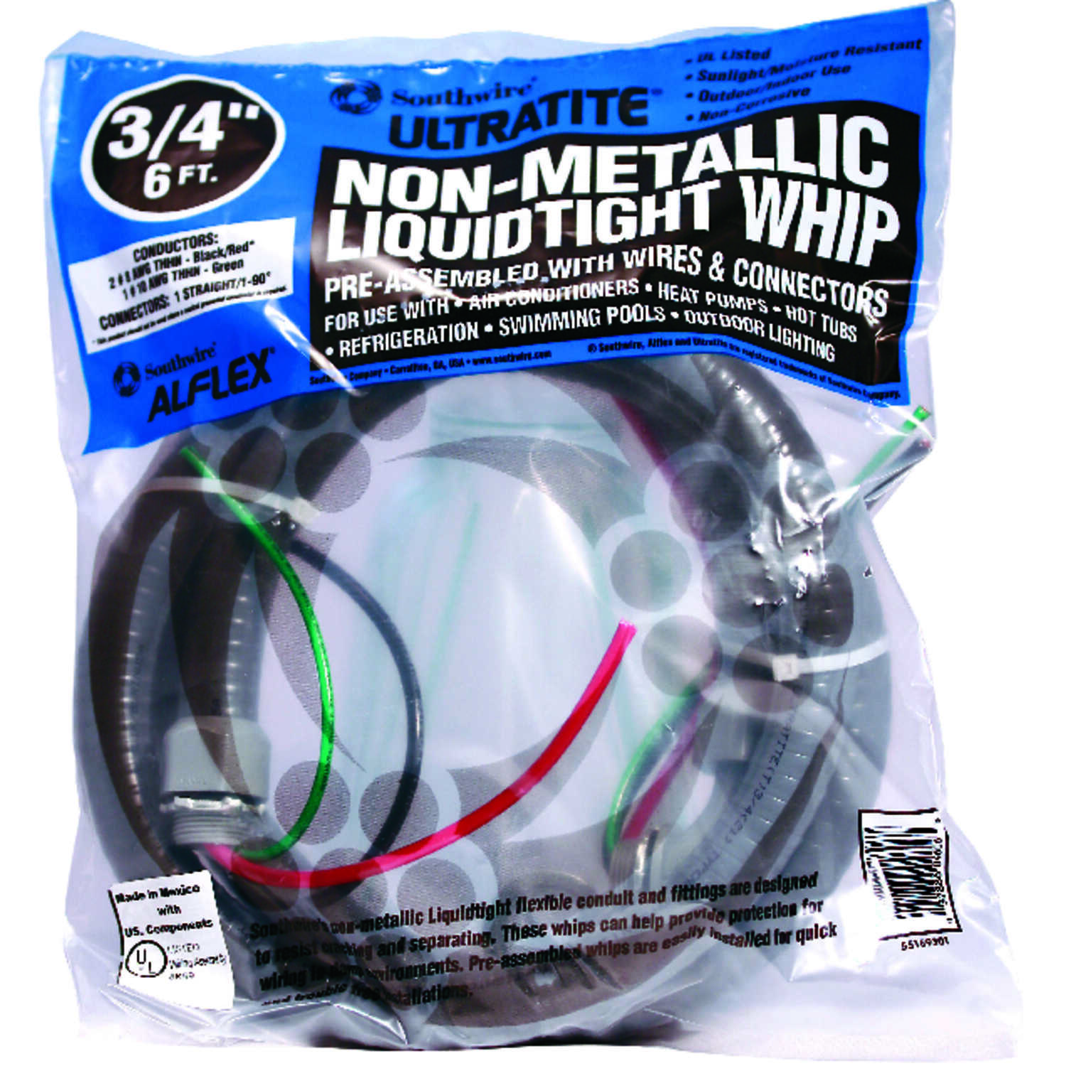 Southwire Cable Whip 3/4 in. x 6 ft. 8 Ga, 2 Conductor 6 ft.