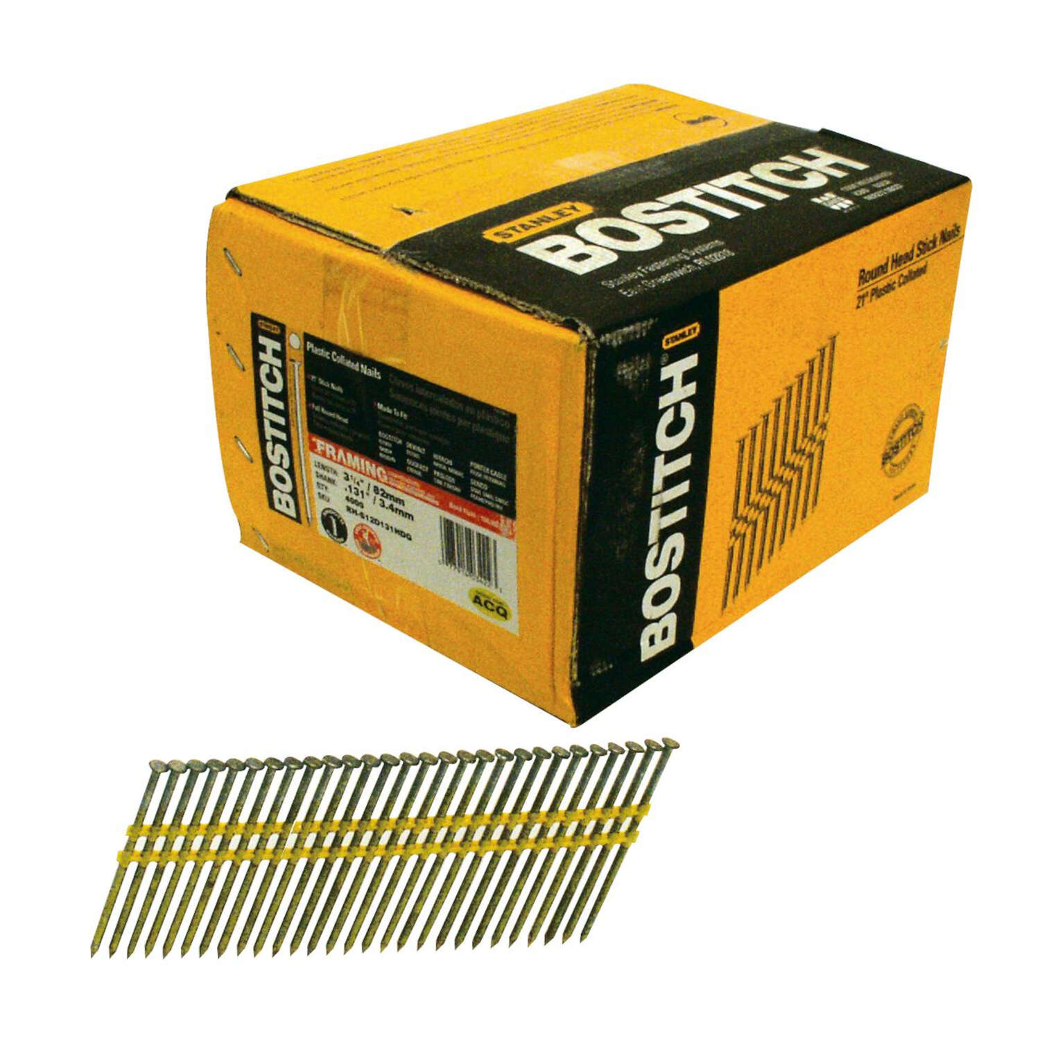 Bostitch 3-1/4 in. Angled Strip Framing Nails 21 deg. Smooth Shank 4,000 pk