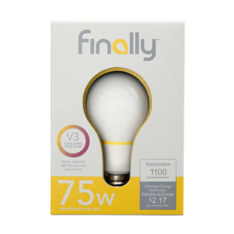 Finally  Lucidity Lights  18 watts A19  LED Bulb  1100 lumens A-Line  75 Watt Equivalence Warm White