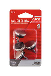 Ace  Silver  0.88 in. Nail-On  Nickel/Nylon  Chair Glide  4 pk