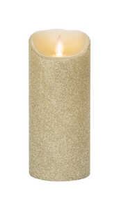 Iflicker  Gold  Pillar  Flameless Flickering Candle  7 in. H x 3 in. Dia.
