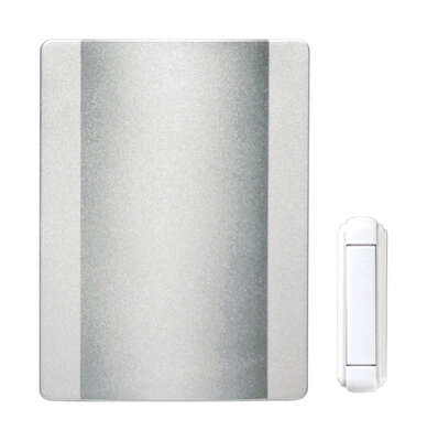Heath Zenith  Satin Nickel  White  Metal  Wireless  Door Chime Kit