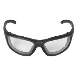 Milwaukee  Anti-Fog Performance Safety Glasses with Gasket  Clear Lens Black/Red Frame 1 pc.