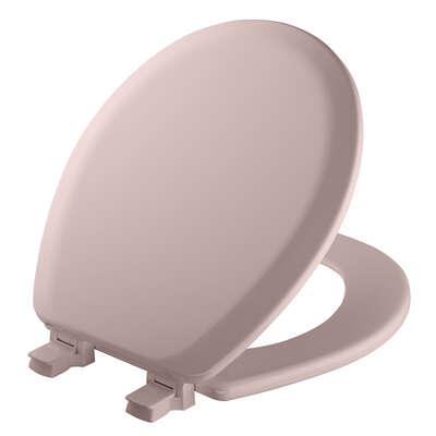 Mayfair  Never Loosens  Round  Pink  Molded Wood  Toilet Seat