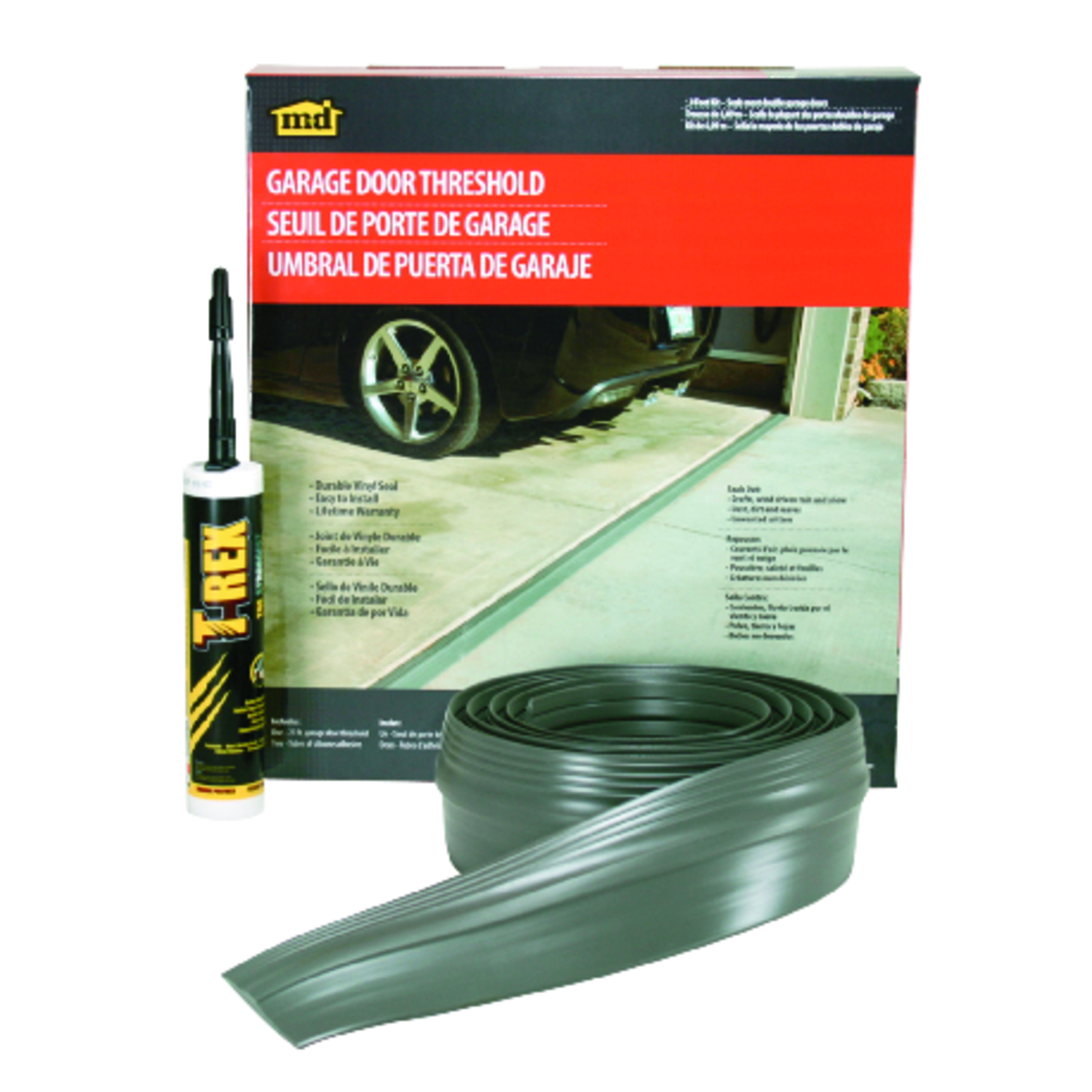 M-D Building Products  Gray  Vinyl  10 ft. L x 1/8 in.  For Garage Door Garage Door Threshold