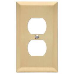 Amerelle Century Satin Brass Brass 2 gang Stamped Steel Duplex Outlet Wall Plate 1 pk