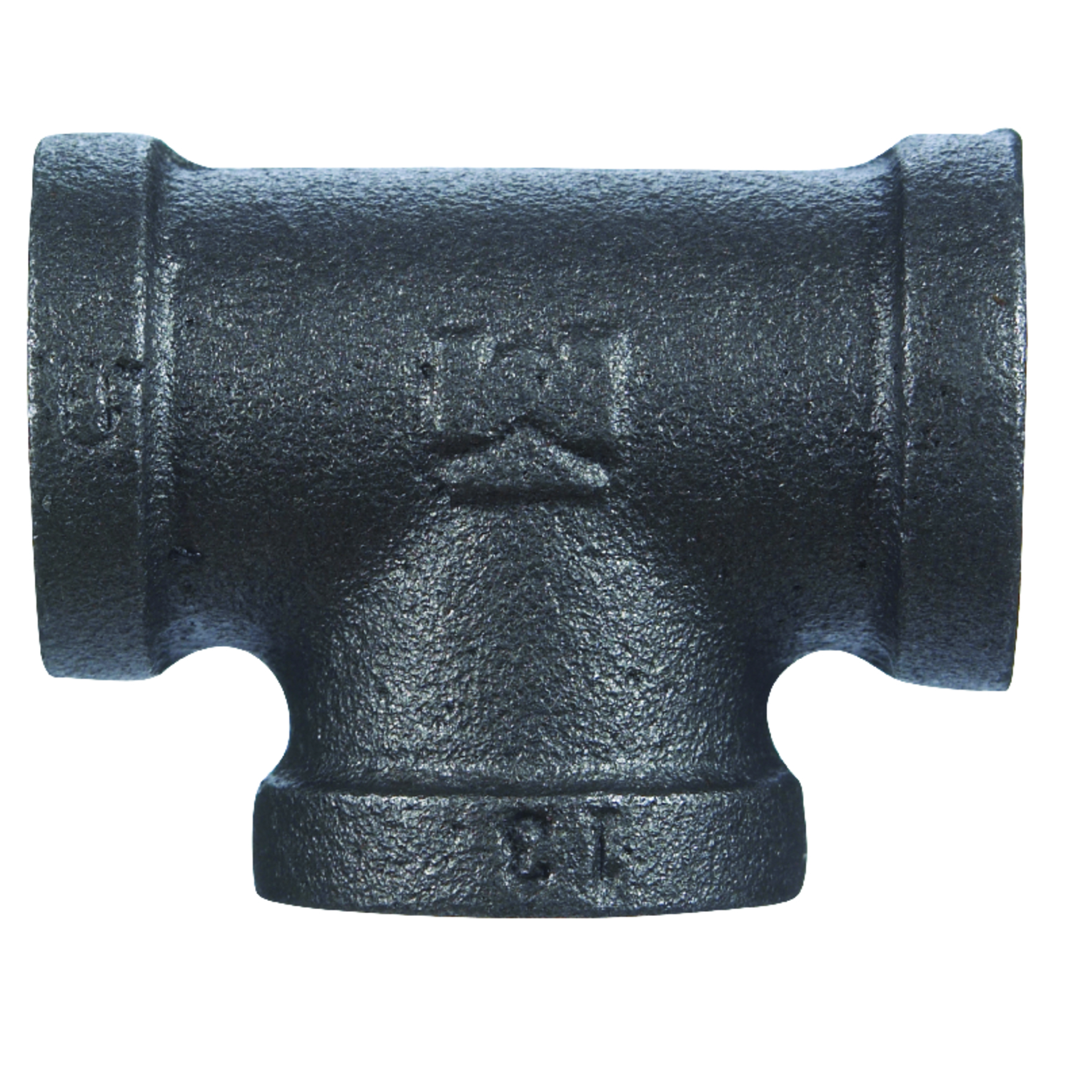 B & K  1/2 in. FPT   x 1/2 in. Dia. FPT  Black  Malleable Iron  Tee