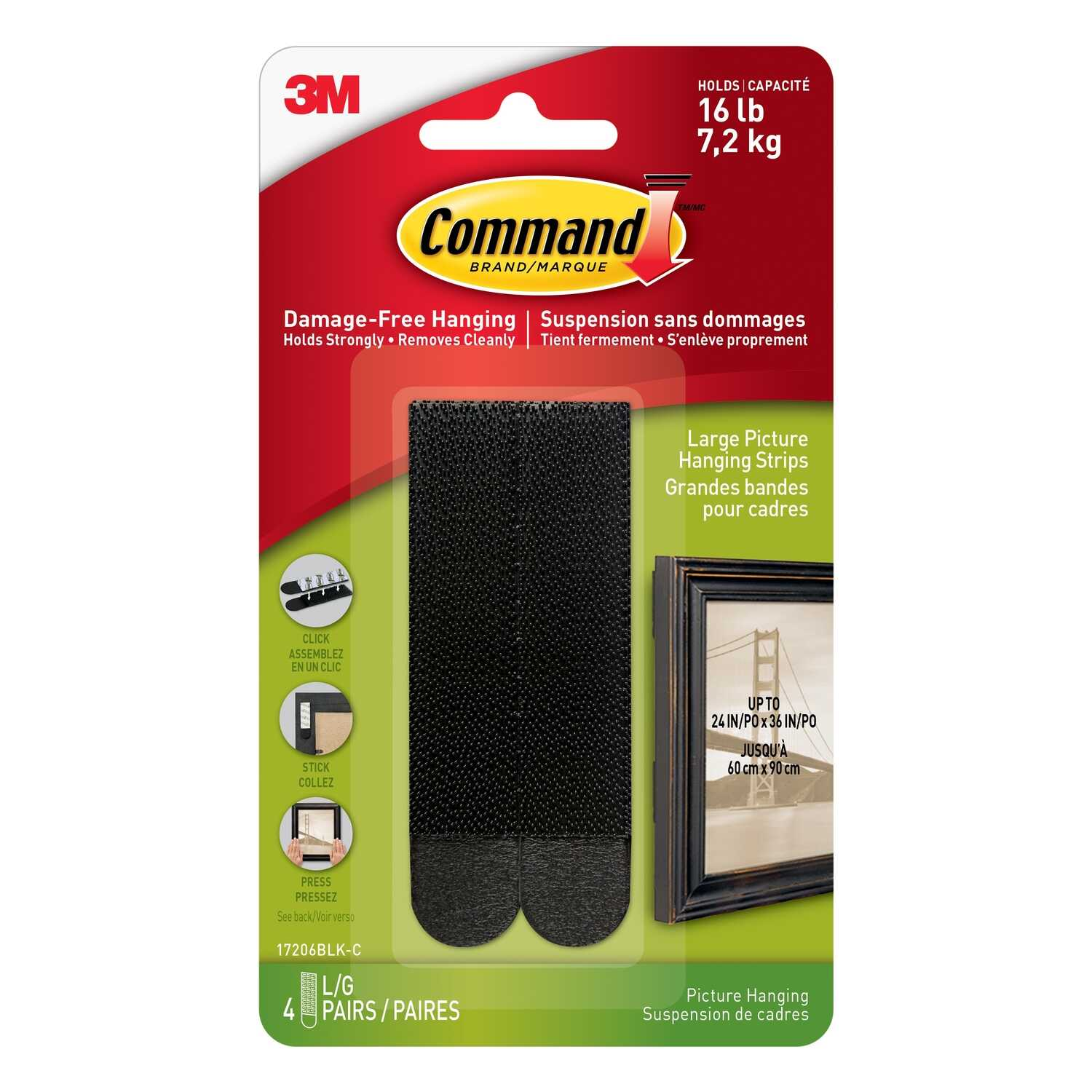 3M  Command  Black  Foam  Picture Hanging Strips  8 pk Large