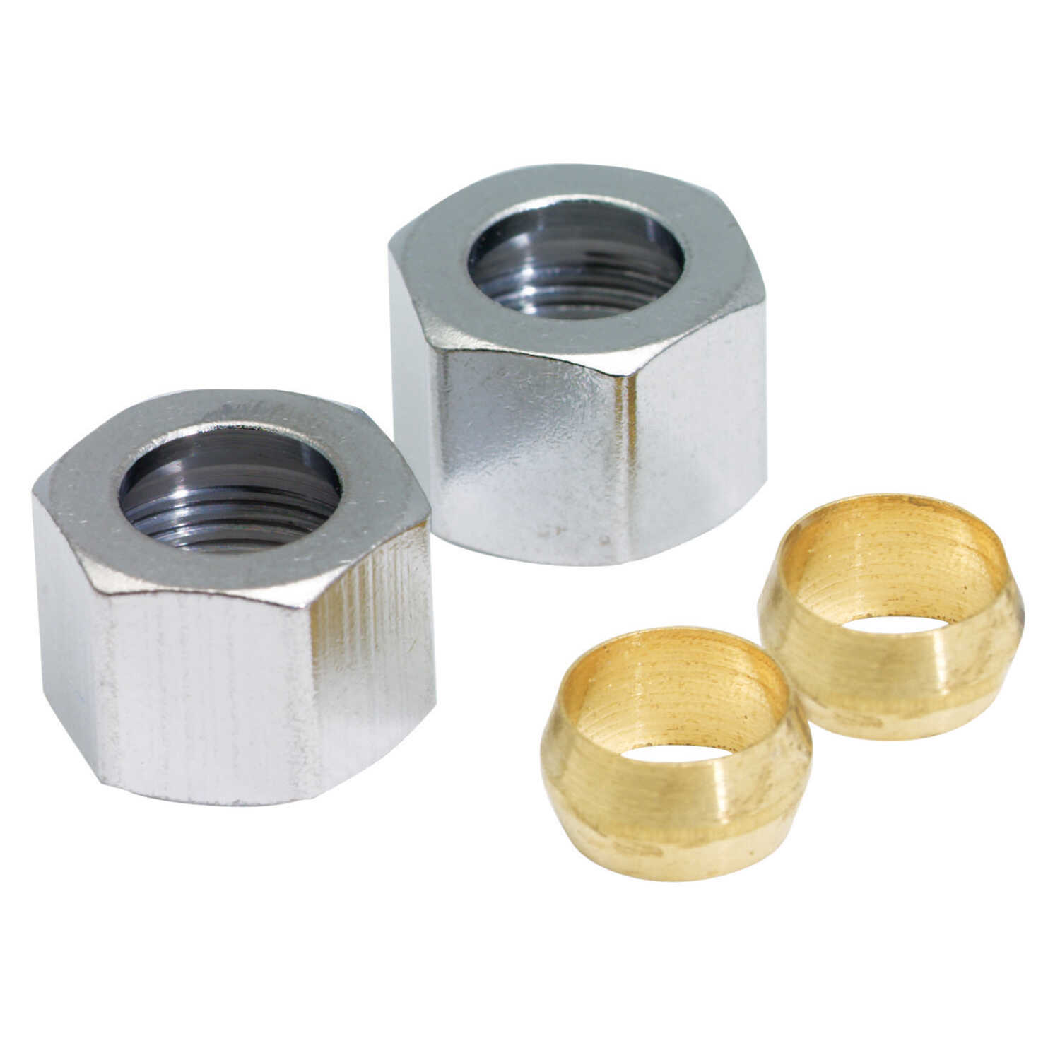 Ace  3/8 in. compression   x 3/8 in. Dia. compression  Polished Chrome  Compression Nut With Rings
