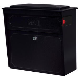 Mail Boss  Townhouse  Galvanized Steel  Wall-Mounted  Black  Lockable Mailbox  16 in. H x 15-3/4 in.