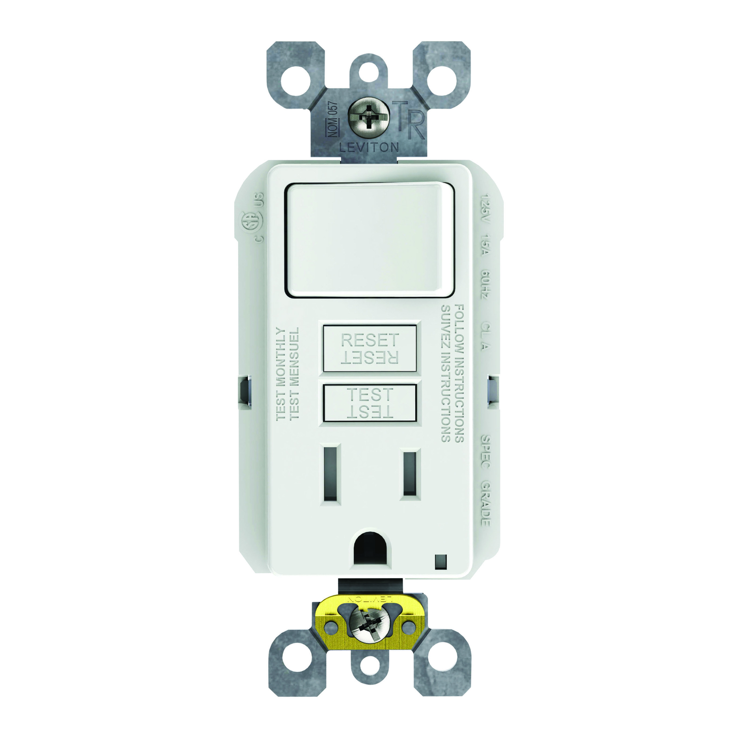 Leviton 15 Amps 125 Volt White Gfci Outlet 5