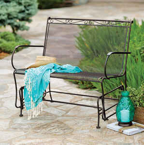 Living Accents  2 person Black  Steel  Porch  Glider