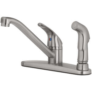 OakBrook  Essentials  Single Handle Kitchen w/Spray  One Handle  Brushed Nickel  Kitchen Faucet  Sid
