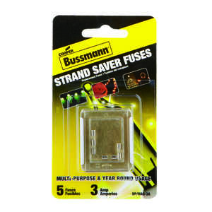 Bussmann  3 amps 125 volts Glass  Glass Tube Fuse  5 pk