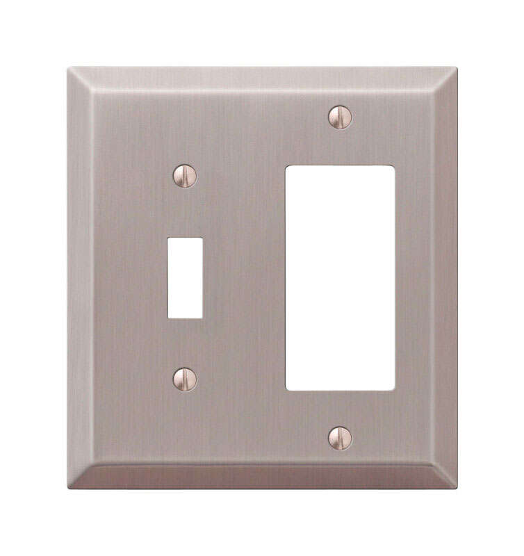 Amerelle  Century  Brushed Nickel  2 gang Stamped Steel  Toggle  Wall Plate  1 pk