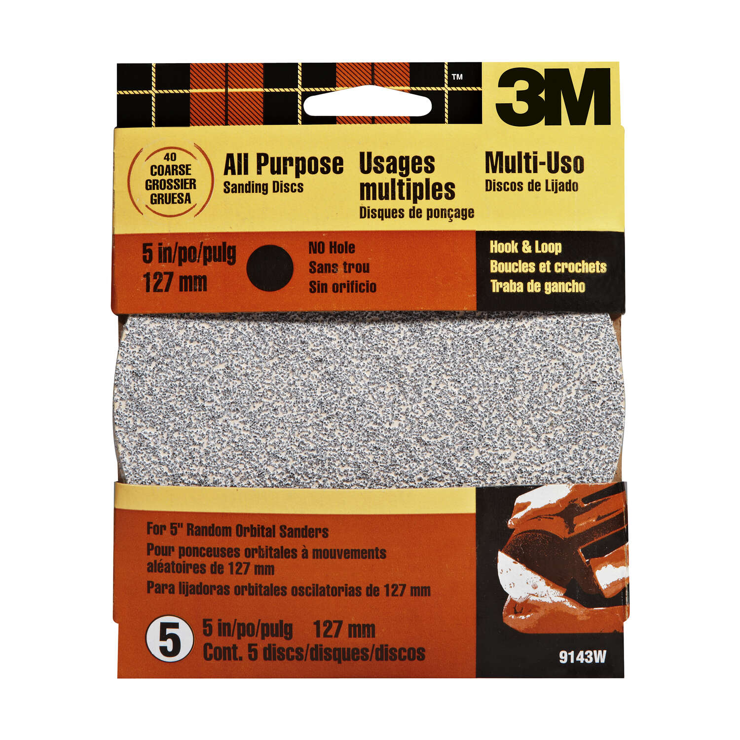 3M  Aluminum Oxide  5 in. Sanding Disc  40 Grit Coarse  Hook and Loop  5 pk