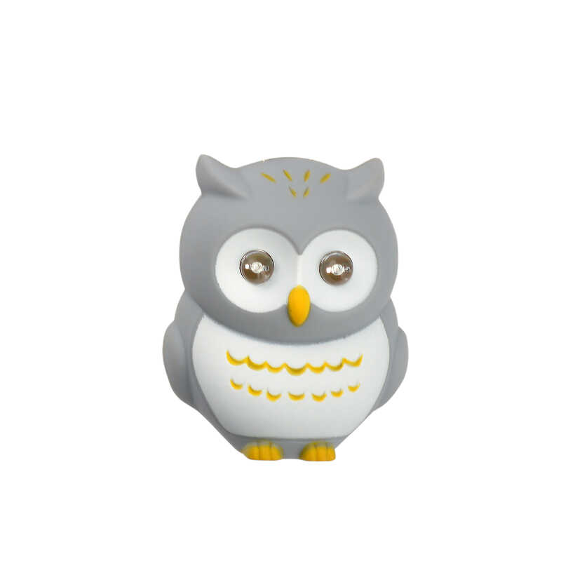 KeyGear  Plastic  Gray  Owl  Key Chain w/LED Light